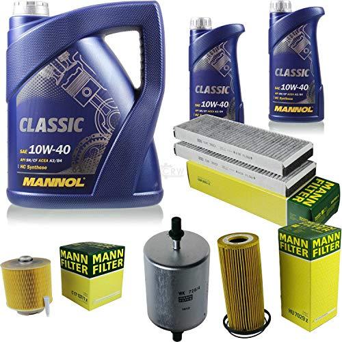 QR-Parts Set 85500132 MN7501-1 WK 720/4 MN7501-5 HU 7029 z CUK 3023-2 C 17 137/1 x paquete de inspección 7 L Classic 10W-40 + MANN paquete de filtros 10934541