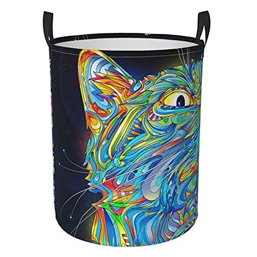 YUANXIANG Abstraction Cat Star Sky Circular protable Bin Organizador redondo cesta para la colada con asas, ropa de dormitorio pequeña