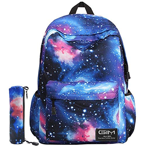 Unisex Galaxy School Backpack, GIM School Bag Canvas Backpack Laptop Book Bag Galaxy Leisure School Rucksack Satchel Hiking Bag (Canvas Blue)