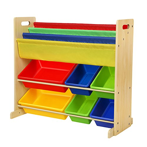 SONGMICS Combo Book & Toy Storage Organizer Sling Book Rack with 6 Plastic Bins and 3-Pocket Book Shelf Multicolor UGKR03Y