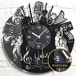 Jazz Music Clock - Music Vinyl Wall Clock - Music Jazz Wall Clock Musical Instrument Music Themed Vinyl Record Violin Jazz Wall Art Home Room Decor Unique Clocks Music Musician Gift Vinyl Black