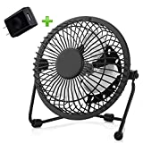 USB Fan, Ezire Mini Fan Desk Personal Metal USB Fan Aluminum Blade Metal Design, 3.9ft USB Cable, High Compatibility, Quiet Operation Suitable for Baby Kids Adult 6 Inch Black