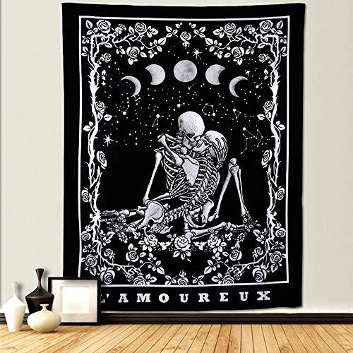 Dremisland Cráneo Tapiz de Pared Tarot Amantes de Los Besos Tapices Eclipse de Luna Colgante de Pared Blanco y Negro con Rosa Mandala Tapices para Dormitorio Sala de Estar