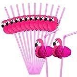 Pajitas flexibles Hysagtek con dise├▒o de flamencos para fiesta de cumplea├▒os, boda o decoraci├│n, 50 unidades, color rosa
