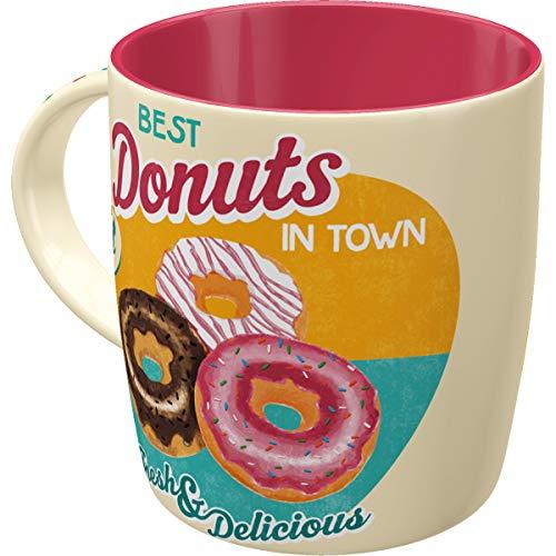 Nostalgic-Art Retro Kaffee-Becher, Lustige große Keramik-Tasse mit Spruch, Donuts, 8.5 x 8.5 x 9 cm