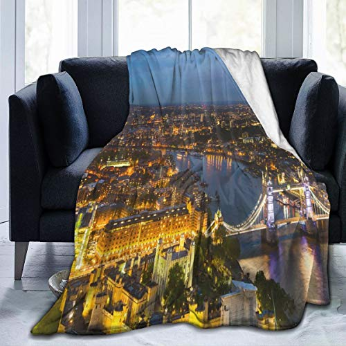 ZOANEN Soft Fleece Throw Blanket,Puesta de Sol Moderna en la Ciudad de Londres Posters,Home Hotel Sofá Cama Sofá Mantas para Parejas Niños Adultos,150x200cm