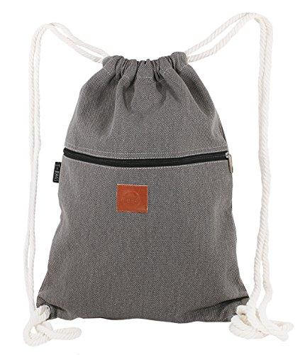 T-BAGS Thailand Baumwoll Turnbeutel Hipster - mit Reißverschluss - 24 Designs – Hochwertiger Beutel, Rucksack, Gym-Bag mit verstellbaren Kordeln (Hellgrau)