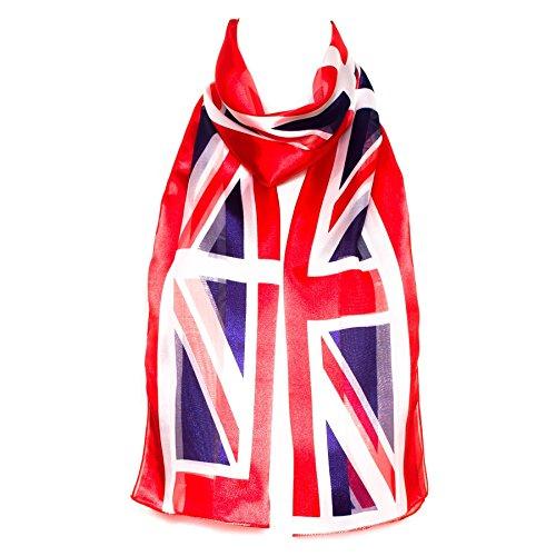 HatToSocks Union Jack UK Flag Red White Blue Chiffon Satin Scarf for Women