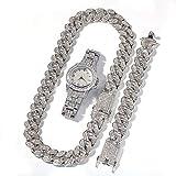 Juego de Collar de Pulsera de Cadena Cubana a Juego con Reloj de Diamantes Completo para Hombres