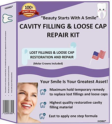 Home Dental Restoration Cavity Filling Loose Cap Crown Repair Kit DIY Cavity Filler Dental Mirror and Molar Crowns