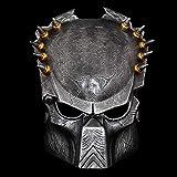 WTZWY Predator Masken- Lone Wolf Cosplay Halloween Gesichtsmaske Sammlung Rein, Handmade Man Helm Film-Thema Von Predator Resin Mask,Silber