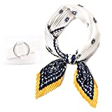 Original Scarfs for Women Lightweight Pleated Silk Scarf for Hair. Fashion Silk Bandana Headbands Square Neckerchief. (Casual white)