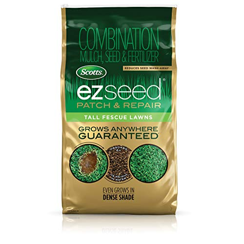 Scotts EZ Seed Patch & Repair Tall Fescue Lawns - 10 lb., Combination Mulch, Seed, and Fertilizer Mix with Tackifier, Repairs Bare Spots, Covers up to 225 sq. ft.