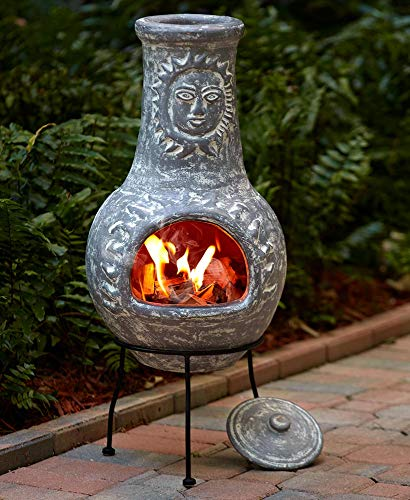 Outdoor Clay Chiminea Fire Pit (Stone Gray)