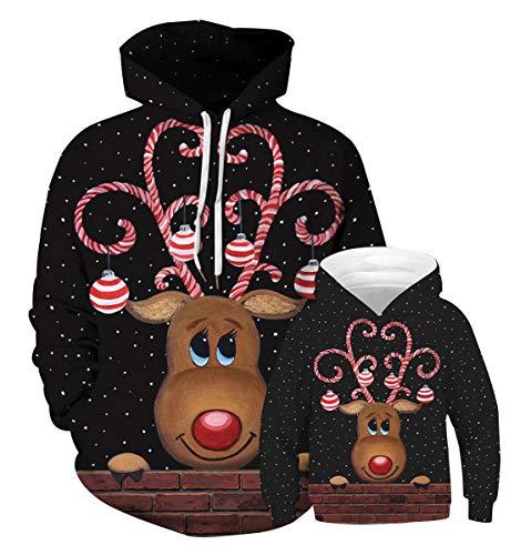 Weihnachtspullover Familie Xmas Pullover Weihnachten 3d Hoodie Ugly Weihnachtspulli Kinder Sweatshirt Weihnachts Kapuzenpullover Pullis mit Kapuze Hässliche Christmas Sweater Jungen Mädchen 5-6 T