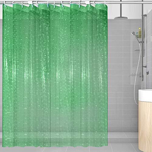 Duschvorhang Transparent 180x200 180x180 3D Wasserwürfel Shower Curtains Anti Schimmel Badevorhang Wasserdichter Badezimmervorhang PEVA Wasserdicht Badvorhang (Grün, 180*180)