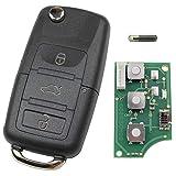 Schlüsselgehäuse Funk Fernbedienung Klappschlüssel 1J0959753DA Fernbedienung Golf Passat Polo 434 MHz Gehäuse Ersatz Autoschlüssel Sender Platine Neu passend für VW Volkswagen Seat Skoda