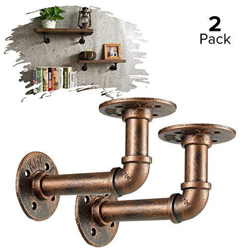 Pipe plank beugels, La Vane 2-Pack industriële ijzeren buis rekken beugels, muur gemonteerd, DIY decoratie voor boerderij huis boek plank drijvende planken 2-Pack: 5.5