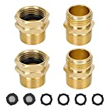 """STYDDI 3/4"""" GHT X 3/4"""" NPT Male Connector, Brass Garden Hose Convert Adapter Fitting, Garden Hose Thread to 3/4' Male Pipe Thread, with Extra 6 Washers"""