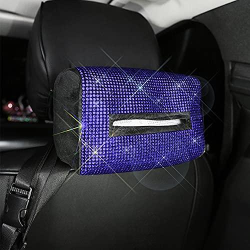 MINGZAIQIPEI Bling Car Sun Visor - Funda de papel para pañuelos, funda para pañuelos, funda de felpa, para asiento trasero, reposacabezas, clip para colgar servilleta (azul, bolsa de pañuelos A)