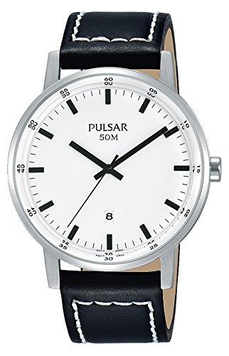 Pulsar Herren Analog Quarz Uhr mit Leder Armband PG8265X1