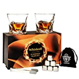 Whiskey Glass Set of 2 - Scotch 6 Stainless Steel Chilling Stones Set - Bourbon Glasses Gift Set for Dad - Whiskey Metal Ice Cubes Gift Box - Whiskey Stones Gift Set - Whiskey Set for Men - Mens Gifts