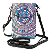 Women Small Cell Phone Purse Crossbody,Classical Ethnic Mandala In Various Details Eastern Rituals Drawn Design