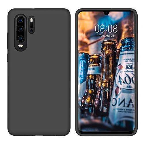 DUEDUE Huawei P30 Pro Hülle Silikon Huawei P30 Pro Handyhülle Slim Hülle Huawei P30 Pro Schutzhülle PC Schale Hardcase Cover Hülle Kratzfest für Huawei P30 Pro Anthrazit schwarz