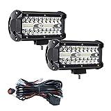Focos de Trabajo LED de 7'Con Cableado Antiniebla, Luces de Trabajo LED, 2 Pcs X 120 W, Luces...