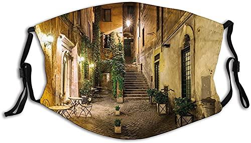 Antiguo patio italiano Roma, Italia, sillas de café, casas históricas en la calle, máscara facial anti transpirable, filtro absorbe el sudor y lavable máscaras para adultos