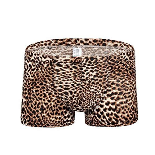 Egurs Herren Boxershorts Sexy Leopard Unterwäsche Brown L