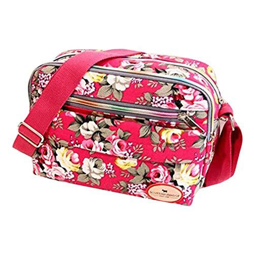 HermosaUKnight Bolsos de Mujer Lona de impresión Bolsa de Mensajero Hombro Bolso de Moda de Verano (Rosa roja)