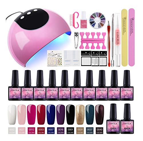 Saint-Acior Esmalte Semi-Permanente para Uñas kit de 10PCS Nail Dryer 24W UV/LED Secador de Unas Base Coat Top Coat Manicura...