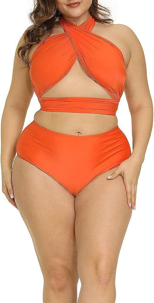 ALLEGRACE Women Plus Size Swimsuit Self Tie Bikini Sets Two Piece Backless Swimwear