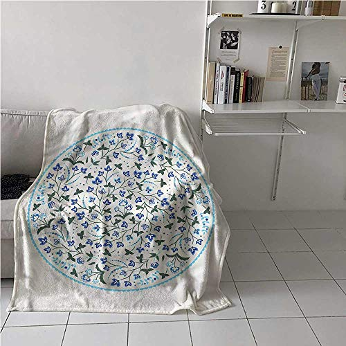 Bed Blanket Jacobean Air Conditioner Blanket Round Frame Floral Stems Best Gift for Women, Men, Kid, Teen 70x84 Inch