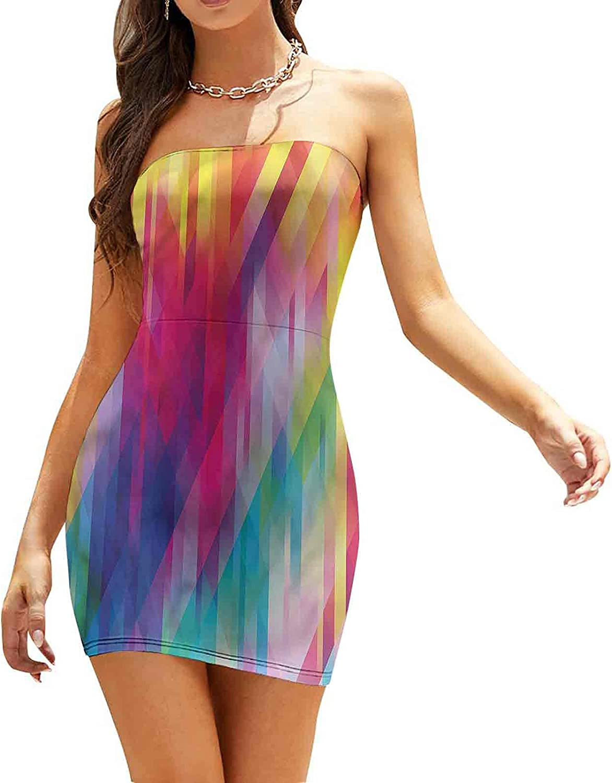 Women's Summer Strapless Dresses Diagonal Crosswise Lines Dresses