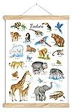 ZOOTIERE POSTER 50 x 70 cm UNGERAHMT OHNE HOLZLEISTE Tierposter Lernposter Schulanfang 1. Klasse Kinderzimmer Weihnachtsdeko Baby Bilder Zoo Wald Safari Afrika Kindergarten