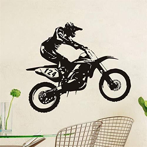 wZUN Racing Art Vinilo Adhesivo de Pared Bicicleta Decoración de la casa Calcomanía extraíble Habitación de los niños Dormitorio Familiar Diseño 42X49cm