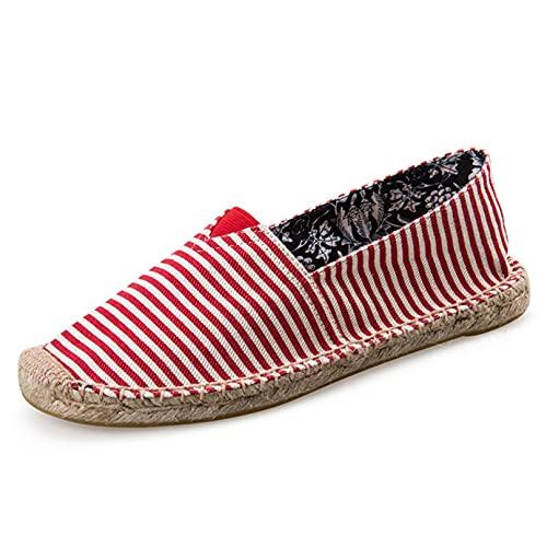 Alpargatas para Hombre, Mocasines Casuales de Rayas de Moda clásica, Mocasines Casuales, cómodos, Resistentes al Desgaste, Zapatos Planos de Lona