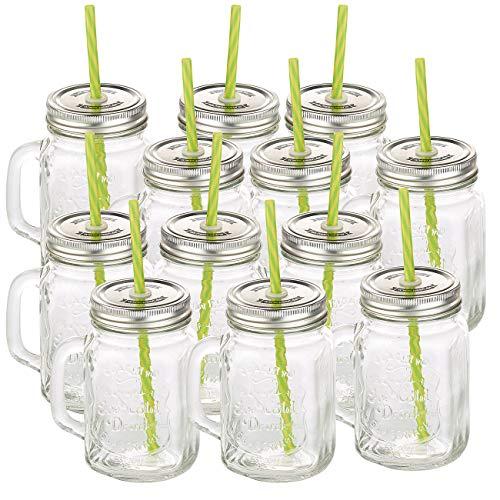 PEARL Glas mit Deckel: Retro-Trinkglas mit Henkel, Deckel und Trinkhalm, 12er-Set (Gläser mit Deckel und Strohhalm)
