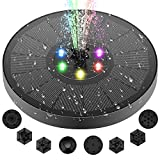 TonyTown Solar Bird Bath Fountain Pump-3W solar fountain with 7 nozzles and 4 anti-drift plastic pipes, gardens, fish tanks, ponds, outdoor LED floating solar fountain pumps that can stand freely…