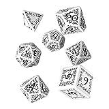 Q Workshop Elvish White & Black RPG Ornamented Dice Set 7 Polyhedral Pieces
