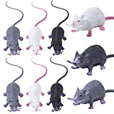 URATOT 9 Pieces Halloween Fake Rat, Realistic Rat, Plastic Rat, Halloween Trick Toys Decoration, Party Props, Pet Toys (Black,White,Gray)