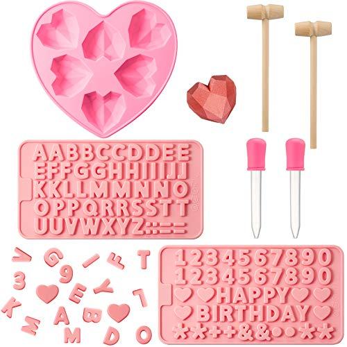 Stampi Cuore Diamante Stampi Silicone Cioccolato 2 Stampi Lettere e Numeri Cioccolato 2 Martelli in Legno e 2 Contagocce per Dolce Mousse, Torta di Formaggio Fondente su Matrimonio Valentine