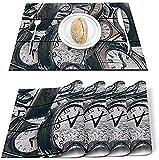 Tovagliette Set di 4 Tovagliette Shabby Chic Orologio Poliestere Resistente alle Macchie Decorazione Tovaglietta Lavabile per Casa, Cucina, Ufficio Retro Tavola di Legno