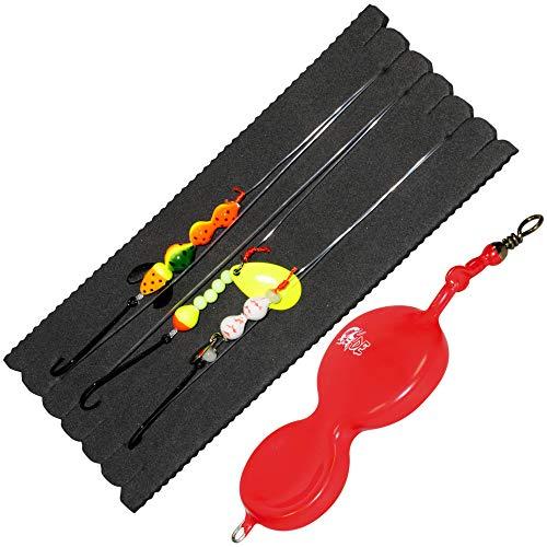 Dieter Eisele Flunder Buttlöffel - 1 Spoon + 3 Vorfächer zum Meeresangeln auf Plattfische, Meeresmontagen für Schollen & Flundern, Gewicht:30g, Farbe:rot