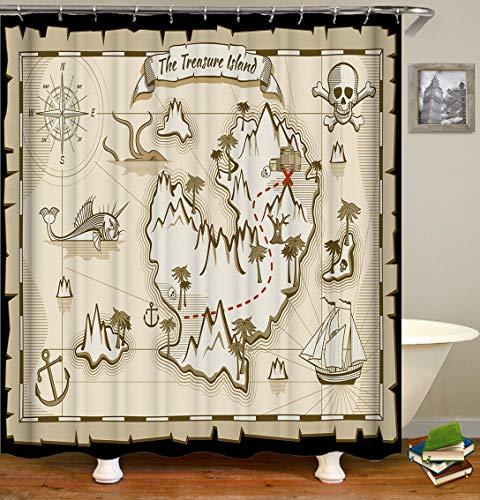 Fabric Shower Curtain,Nautical Treasure Island Vintage Old Map Pirate Ship Ocean Ancient Pirate Polyester Designer Cloth, Print Decorative Bathroom Curtains Include Hooks Set(72〃w by 72〃L) (2583)