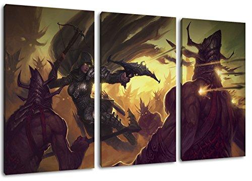 Diablo 3-Teilig auf Leinwand, XXL riesige Bilder fertig gerahmt mit Keilrahmen, Kunstdruck auf Wandbild mit Rahmen