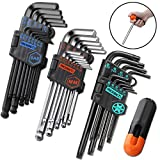 REXBETI Hex Key Allen Wrench Set, SAE Metric Star Long Arm Ball End Hex Key Set Tools, Industrial Grade Allen Wrench Set, Bonus Free Strength Helping T-Handle, S2 Steel