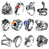 Subiceto 12Pcs Vintage Punk Rings for Men Women Octopus Dragon Claw Skull Snake Ring Open Adjustable Cool Gothic Ring Set Jewelry